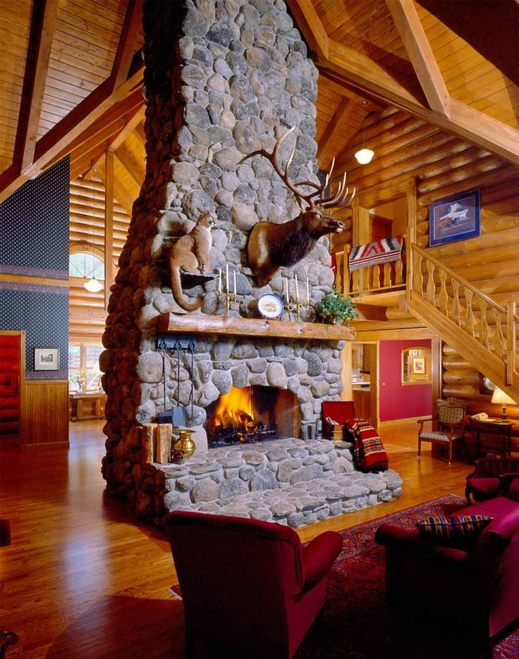 Love The Elk And Cougar Mount And Stone Fireplace Man