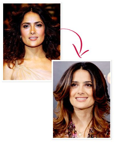 Your Deep Brunet Feels Flat  WHAT TO TRY Lighten up the ends.  WHY IT WORKS Rich espresso hair like Salma Hayek's needs no improvement, unless the gloss-factor is starting to fade. A few well-placed highlights—that is, on the ends and around the face—in a shade one to two notches lighter than your base can attract light and give your hair instant dimension.