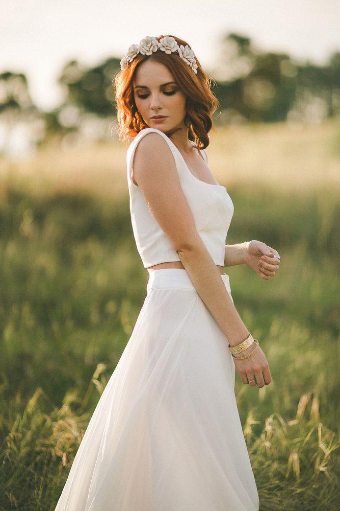 seda simples vestido de noiva de duas peças