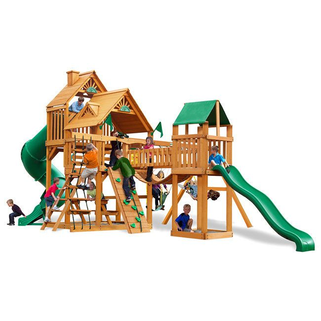 Gorilla Playsets Treasure Trove Swing Set with Amber Posts