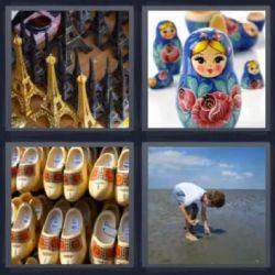 4 Fotos 1 Palabra Mamushkas, Muñecas Rusas, Adornos Torre Eiffel, Zapatos Suecos, Niño recogiendo Caracoles o Piedras en Playa - Solucion 8 Letras