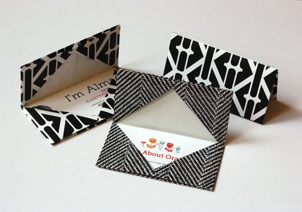 Origami Business Card Holder. Put our own contact card in. And it is a place for people to keep the rest they get