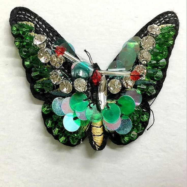 Excited to share the latest addition to my #etsy shop: Fashion 6 * 8 cm green butterfly sequins Rhinestones bead brooch patches applique embroidered fabric sew on patch clothing decoration patch