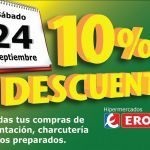 Esta es una promoción de distribuidor, te ofrecen un 10 por ciento de descuento en tu compra el día 24 de septiembre en todas las compras que realices en el supermercado Eroski, de alimentación, charcutería y en platos preparados.