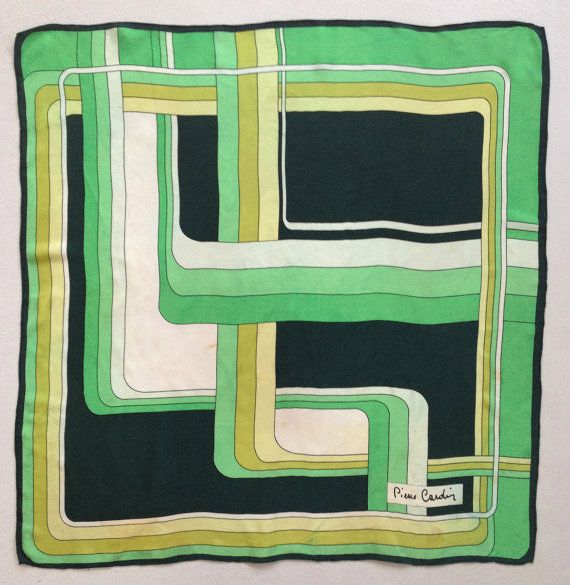 PIERRE CARDIN VINTAGE 100% Silk Scarf Graphic Plaiting Early 70s 1970s - Very Good Condition !