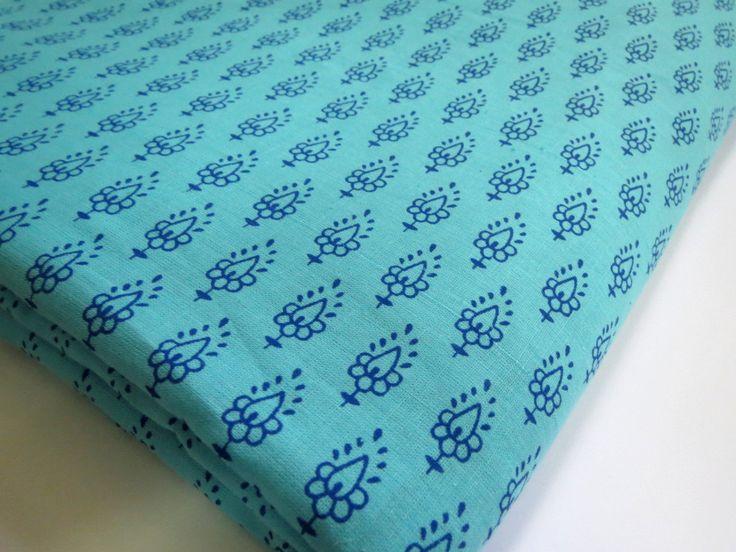 1 yard India Cotton Fabric/Hand Made Print for Dress,Curtain Turquoise Blue base -blue Flower pattern Jaipur Sanganeri Print by CraftyJaipur on Etsy