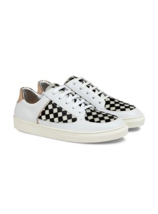 Young+British+Designers:+Check+Coney+Low-Top+Sneakers+by+Rose+Rankin+-+Luxe+everyday+trainers+by+rising+star+Rose+Rankin.+Made+for+all+day+long+and+evening+too.+When+all+white+is+just+not+right+enough+choose+the+Coney+in+check.