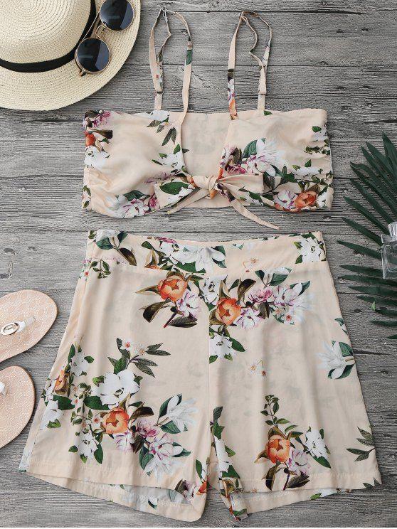 Conjunto de Shorts con Cintura Alta y Blusa Corta con Nudo de Lazo - Floral L