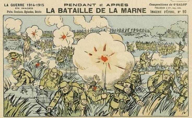 Slag bij de Marne. De slag bij de Marne werd uitgevochten tussen het Franse en het Duitse leger van 5 september tot 12 september 1914. Dit kwam door het von Schlieffenplan want dat plan bestond uit eerst Frankrijk aanvallen en dat deden ze dus bij de Marne