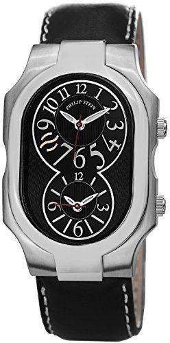 Philip Stein Damen 32mm Schwarz Leder Armband Edelstahl Gehäuse Uhr 2BKCSTB - http://uhr.haus/philip-stein/philip-stein-damen-32mm-schwarz-leder-armband-uhr