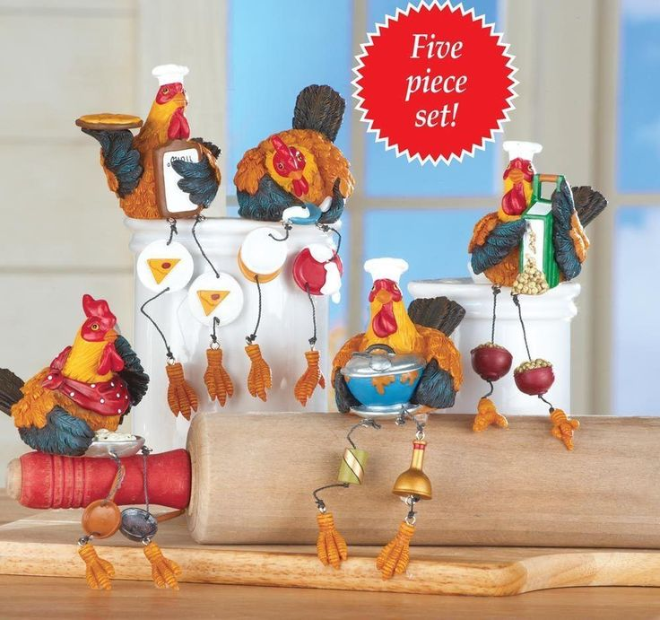 5 Rooster Sitter Figurines Country Kitchen Decor