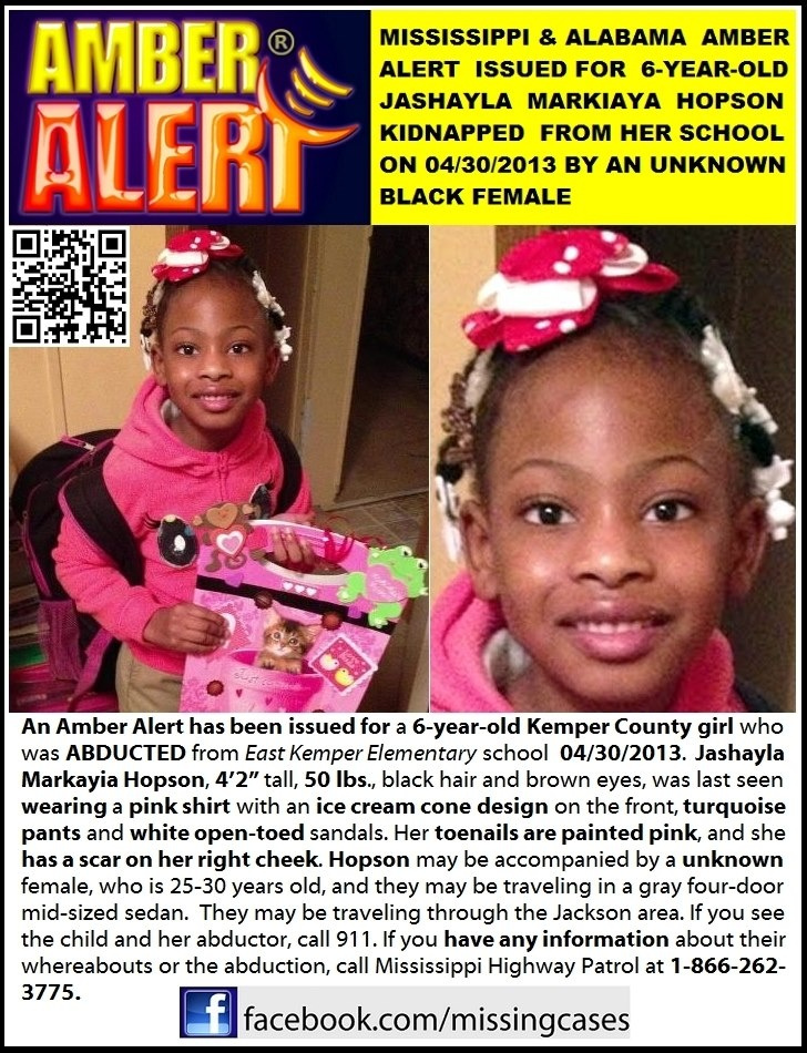 Markayia Hopson - missing from Mississippi - Amber Alert - pin to your most popular board(s)