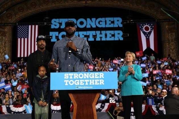 LeBron James Brings JR Smith on Stage, Introduces Hillary Clinton at Ohio Rally