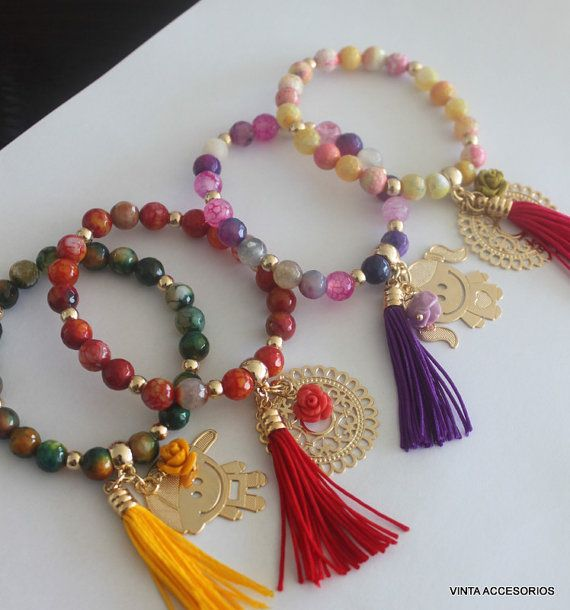 Elastic Bracelet, gold filled Pendants, Fire Agate, tassel and dangling rose via Etsy