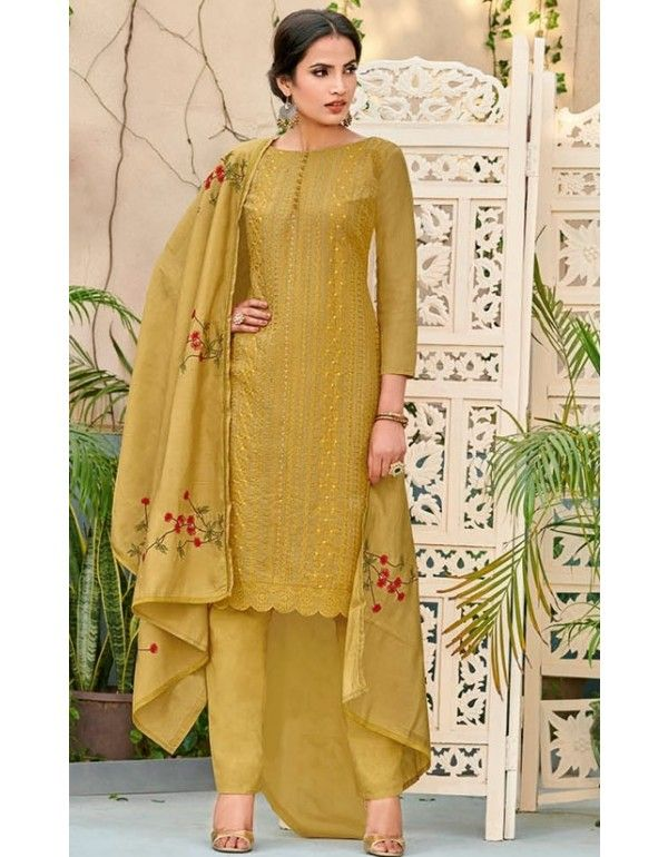f9f7237f82 Mustard Embroidered Pant Kameez with Chanderi Dupatta in 2019 ...