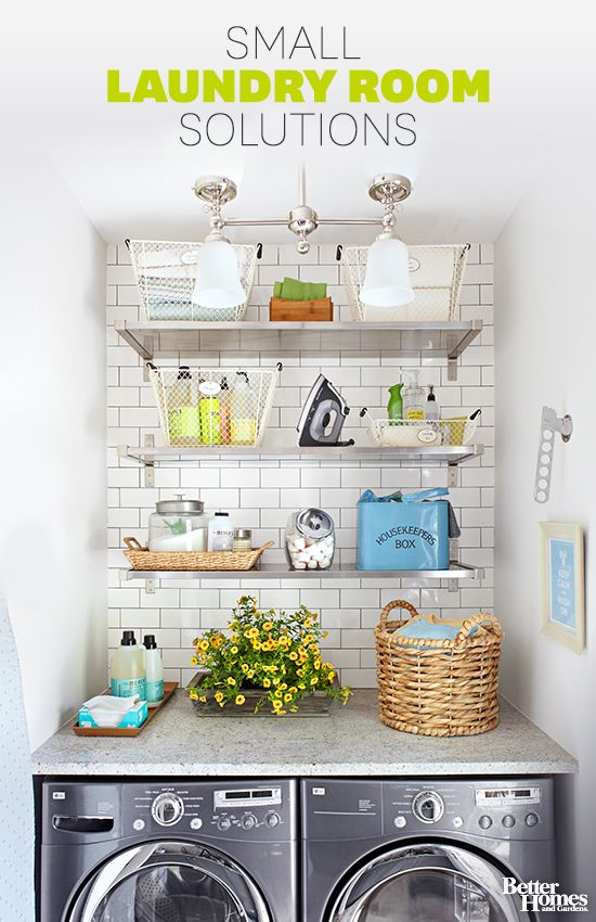 Our small laundry room ideas help any space seem special! More of our tips and tricks: http://www.bhg.com/rooms/laundry-room/makeovers/small-laundry-room/?socsrc=bhgpin112113smalllaundryroomideas
