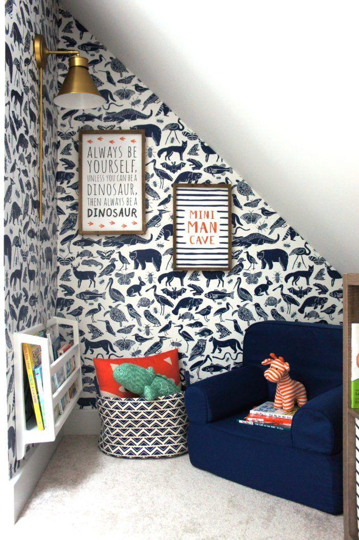 Kids Reading Nook With Removable Wallpaper Reading Nook Kids Kid Room Decor Boy Room