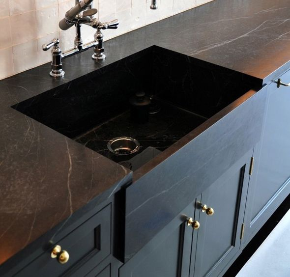 Black Concrete Countertops - Little Green Notebook Love the idea of easy countertops.