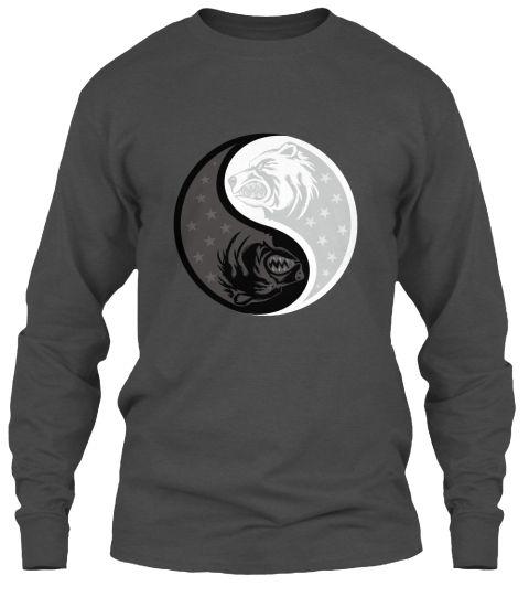 Bear Yin Yang Charcoal T-Shirt Front