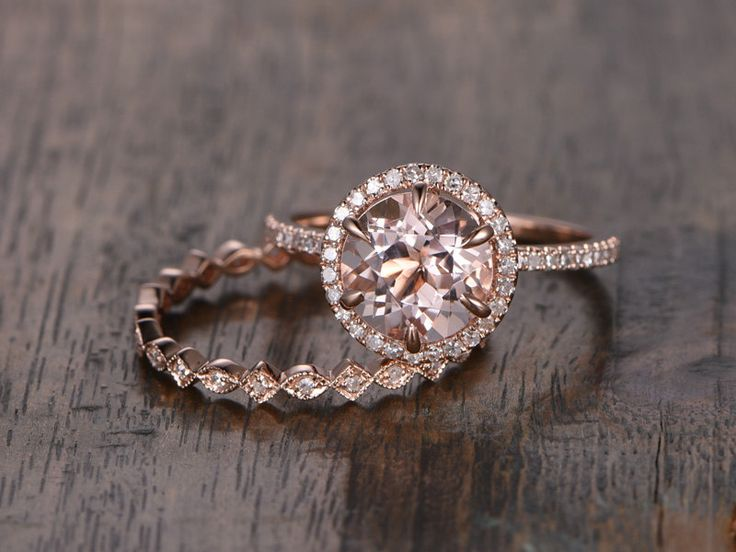Unique 8mm Morganite Wedding Ring Set!Engagement ring Rose gold,Diamond anniversary Ring,14k,Round Cut,6-prongs,Gemstone Promise,Halo ring by popRing on Etsy