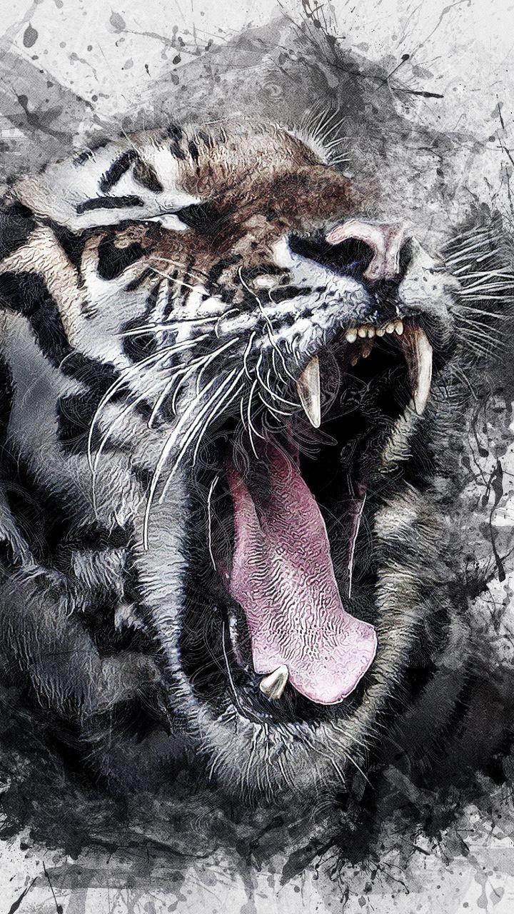 Art tiger roar muzzle 720x1280 wallpaper abstract digital art art tiger roar muzzle 720x1280 wallpaper thecheapjerseys Images