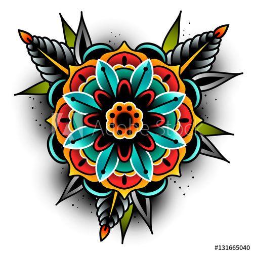 Old school tattoo flower – Lizenzfreie Vektorgrafiken kaufen und entdecken …   – New Tat