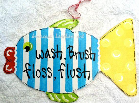 Fun Fish Bathroom Rules by BronwynHanahanArt on Etsy, $40.00