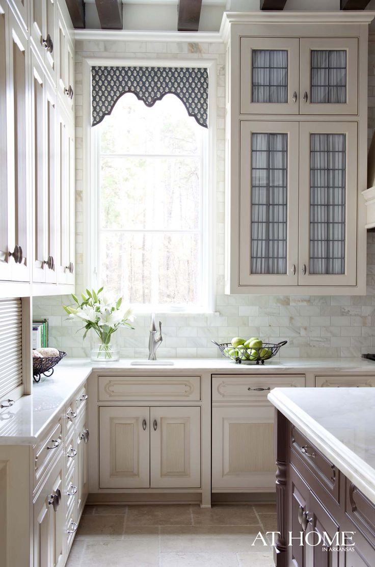 fabric behind glass leaded cabinet doors: Curtains, Kitchens Design, At Home, Window Treatments, Tall Kitchens Cabinets, Valances, Cabinets Doors, White Kitchens, Arkansas
