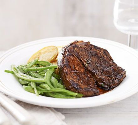 A special meal just for one- marinade lamb leg steak with rosemary and balsamic and serve runner beans and new potatoes
