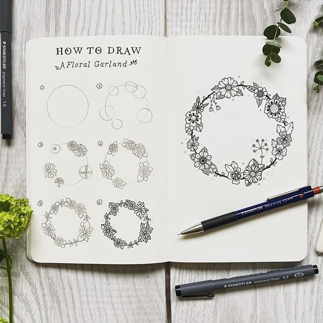Drawing Tutorial How To Draw A Floral Garland This Simple Ring Of Flowers And Foliage Is Super Pretty But Flower Sketches Ink Pen Drawings Cosmos Tattoo