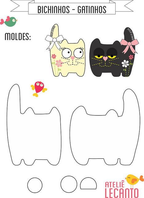 DIY Felt Cats - FREE Pattern / Template