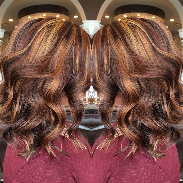Violet Base With Auburn Lowlights And Golden Highlights