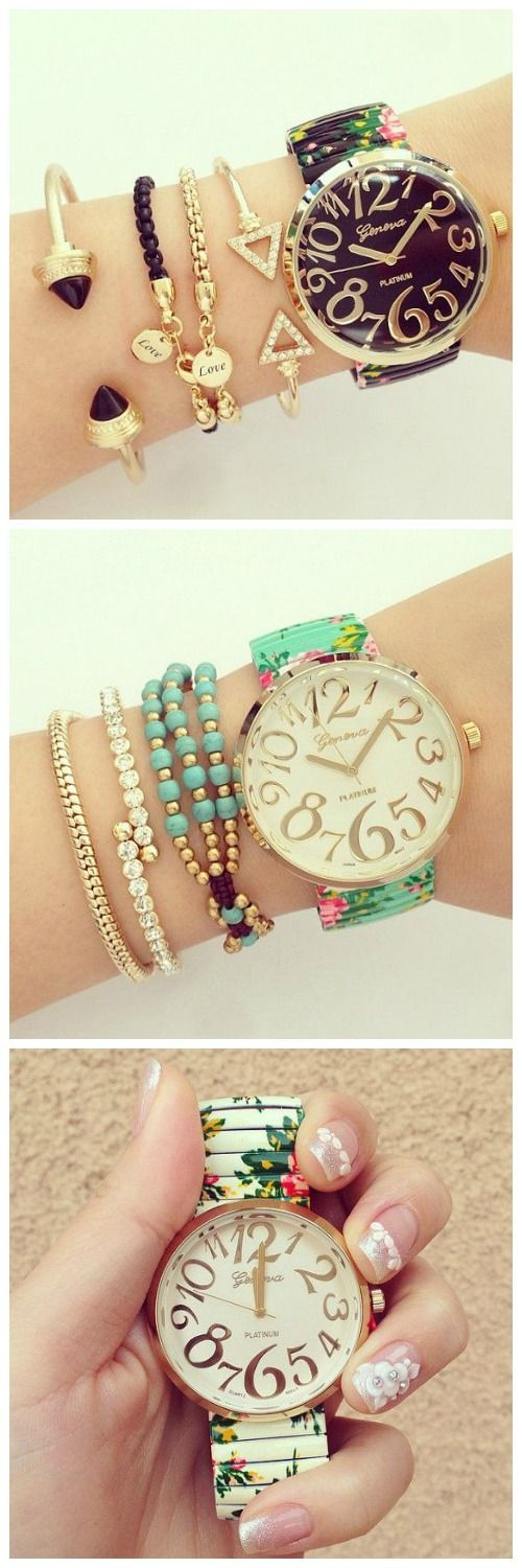 www.Keren-Center.com Floral Fashion Summer Party Girl Teen Black Watch