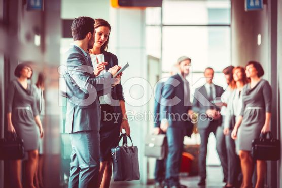 Group of business people in the office building lobby royalty-free stock photo