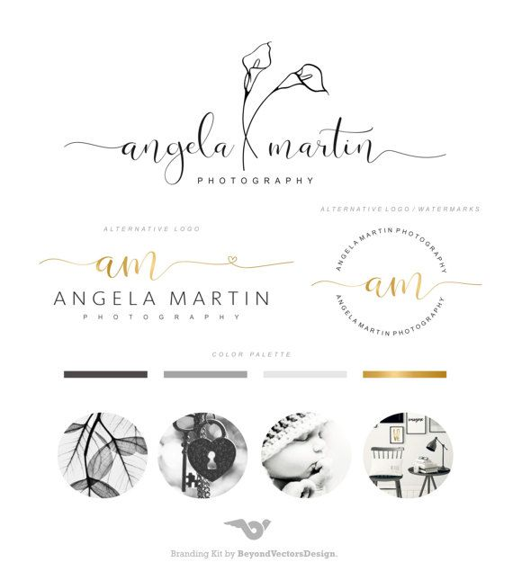Premade Branding Kit, Calla Lilies , Photography Logo Set, Photo Watermark, Gold Logo Signature, Stamp Logo, Blog logo, Elegant logo   99