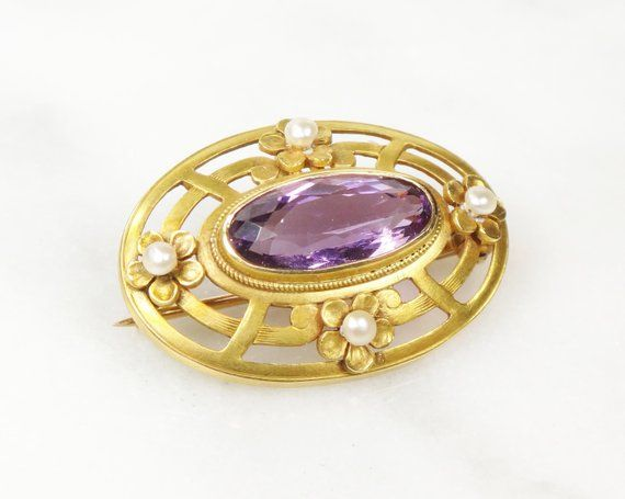Antique Gold Amethyst And Pearl Pin