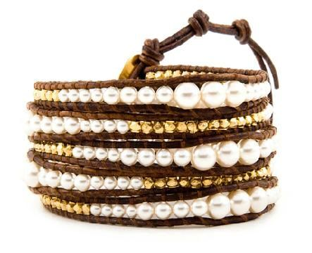 Pearls Ball Beads With Gold Nugget 5X Wrap Handmad Leather Bracelet With 925 Silver Button L59 on Etsy, $18.20