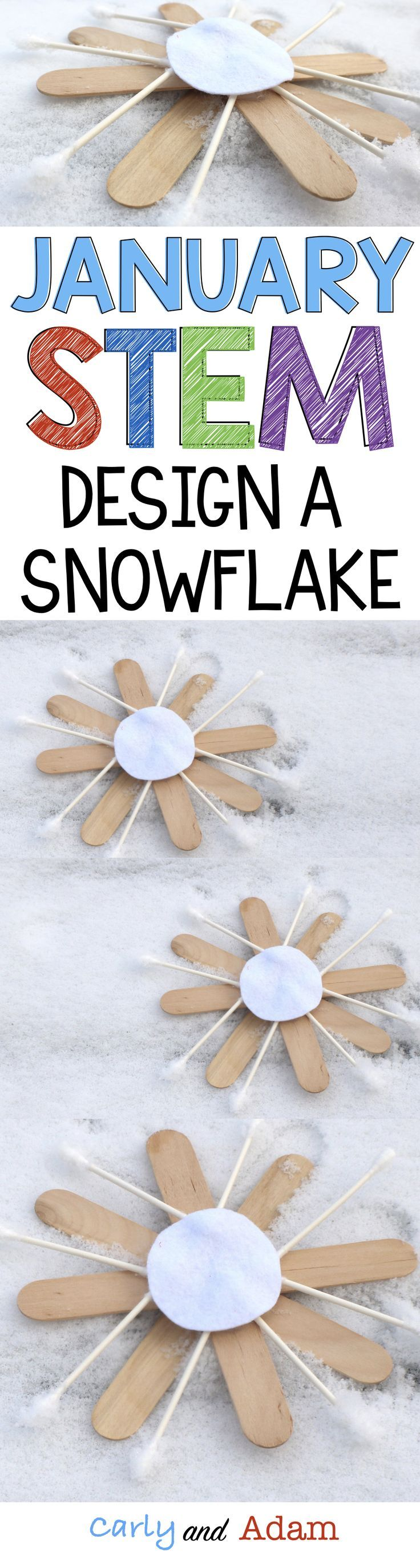 For this winter themed STEM challenge students design and build a snowflake using what they know about symmetry.