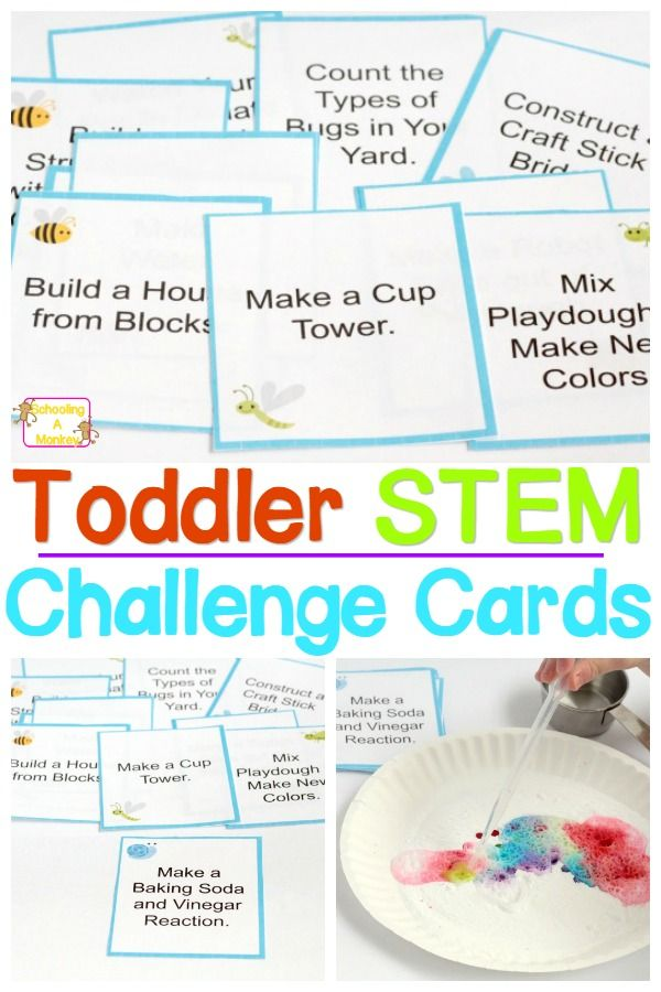 STEM isn't just for older kids! Toddlers can learn science, technology, engineering, and math, too. Get inspired with these toddler STEM challenge cards!
