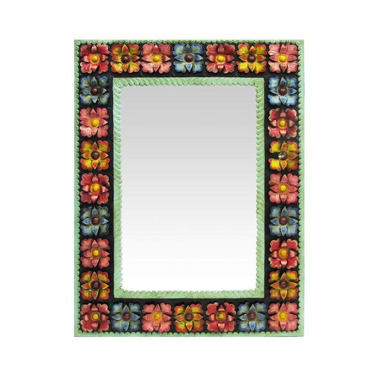 Large Tin Mirrors Collection - Painted Flowers Mirror - MIR906