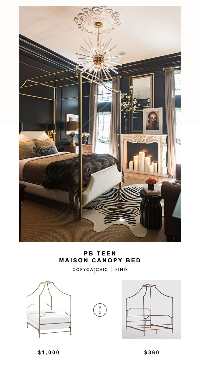 Pottery Barn Teen Maison Canopy Bed for $899 vs Overstock Bailey Brushed Copper Canopy Bed for $360 Copy Cat Chic luxe living for less budget home decor http://www.copycatchic.com/2016/12/pb-teen-maison-canopy-bed.html?utm_campaign=coschedule&utm_source=pinterest&utm_medium=Copy%20Cat%20Chic&utm_content=PB%20Teen%20Maison%20Canopy%20Bed