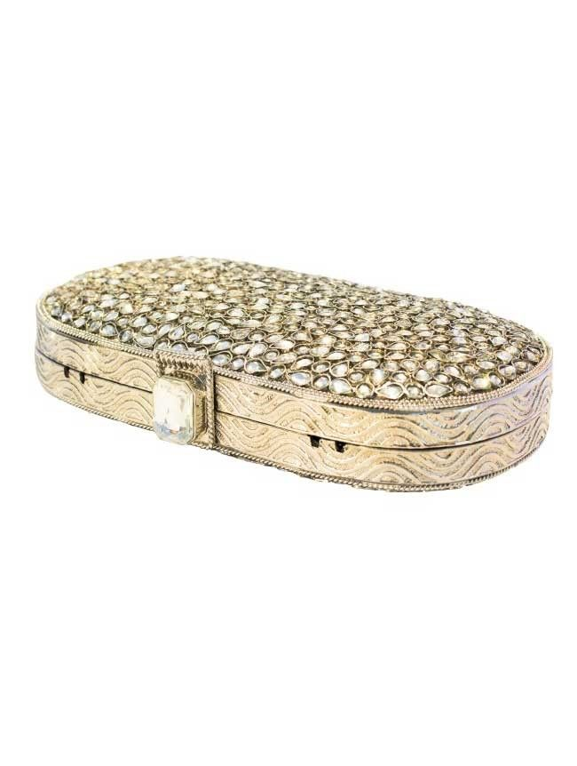 Elegance  - Silver/Diamond Metal Clutch