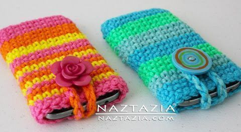 DIY Free Pattern and YouTube Video Tutorial Crochet Cell Phone Smartphone Case Holder (works for iPhone Android Samsung LG Blackberry) by Donna Wolfe from Naztazia #CellPhoneHolder #SmartphoneHolder