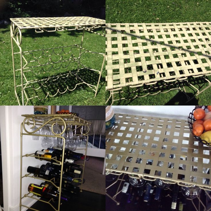 Old wrought iron wine rack brought back to life