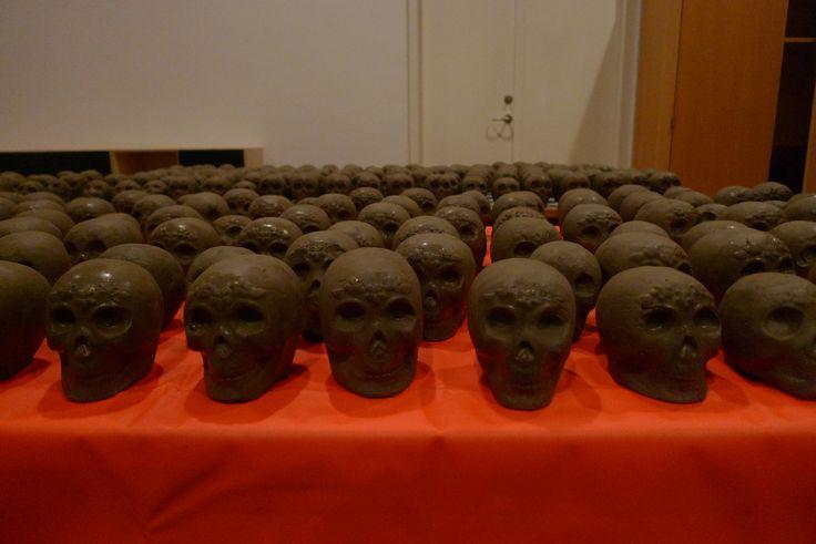 Dia de Muertos craniums made out of clay.