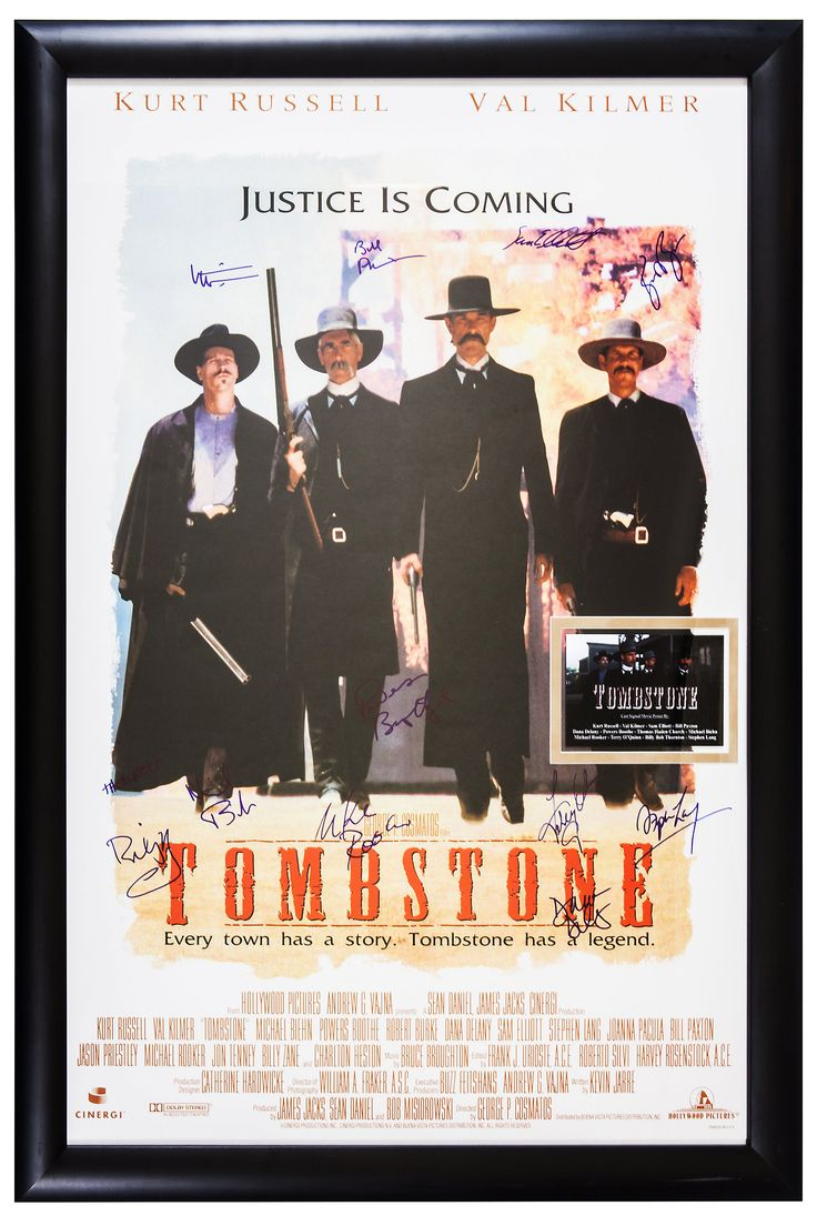 Tombstone Signed by Cast Movie Poster in Framed Case Autographed with COA