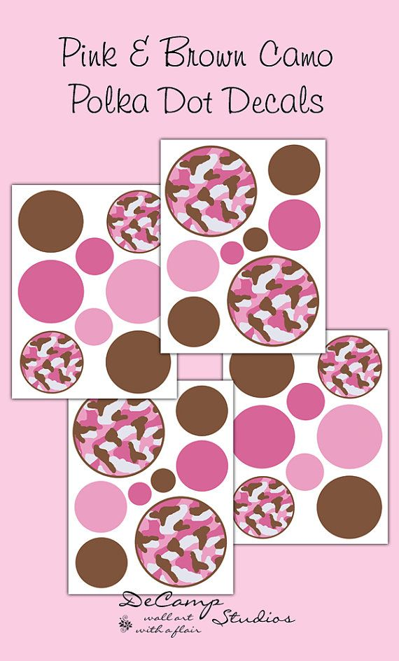 Pink and Brown Camo Polka Dot wall art decals for teen girls camouflage room theme, baby nursery, or any childrens room decor #decampstudios