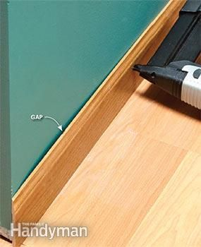 Gaps where studs are missing are another common problem in finish carpentry.