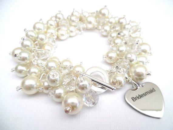 Pearl Bridesmaid Charm Bracelet Custom Colours by KIMMSMITH