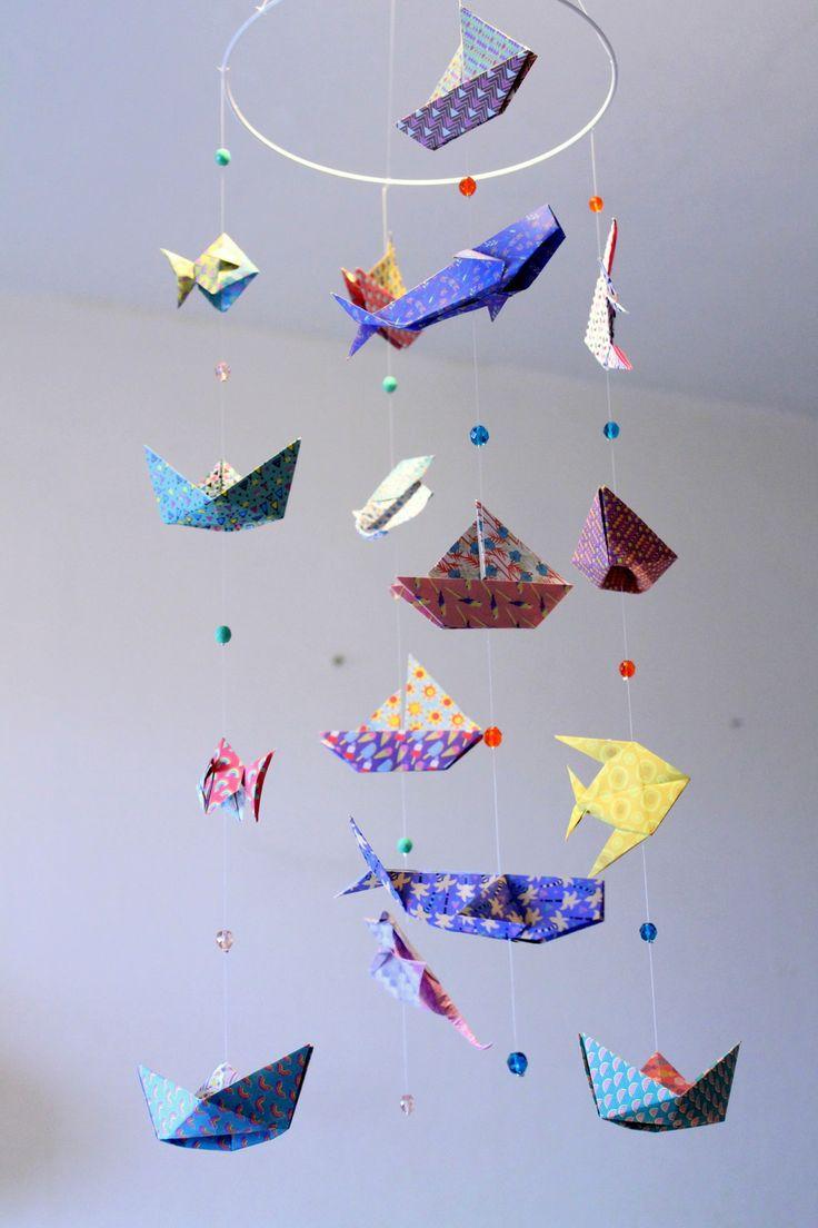 """Mobile bébé origami """"Animaux marins"""" mer et océan - Bateaux, poissons, baleine, raie : Jeux, peluches, doudous par mademoiselle-origami"""